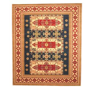 Herat Oriental Indo Hand-knotted Kazak Blue/ Ivory Wool Rug (8' x 10')