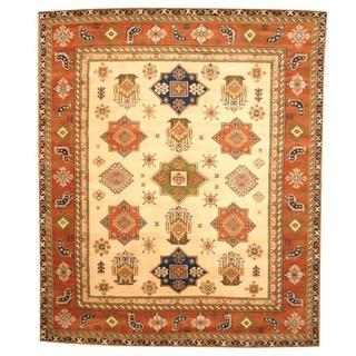 Herat Oriental Indo Hand-knotted Kazak Beige/ Tan Wool Rug (8' x 10')