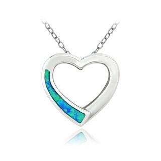 Glitzy Rocks Sterling Silver Created Blue Opal Open Heart Necklace