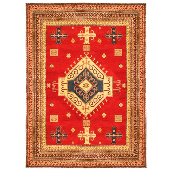 Herat Oriental Hand Tufted Wool Red Black Area Rug: Herat Oriental Indo Hand-knotted Kazak Red/ Ivory Wool Rug