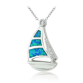 Glitzy Rocks Sterling Silver Created Blue Opal and Cubic Zirconia Sailboat Necklace