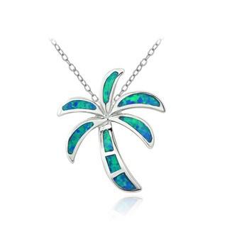 Glitzy Rocks Sterling Silver Created Blue Opal Palm-Tree Necklace