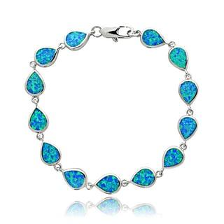 Glitzy Rocks Silvertone Created Blue Opal Teardrop Link Bracelet