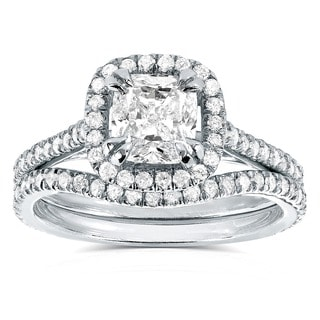 Annello 14k White Gold 1 1/2ct TDW Cushion-cut Halo Diamond Bridal Ring Set (H-I, SI1-SI2)