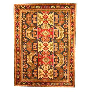 Herat Oriental Indo Hand-knotted Kazak Navy/ Red Wool Rug (4' x 6')