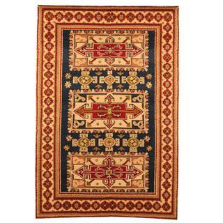 Herat Oriental Indo Hand-knotted Kazak Navy/ Ivory Wool Rug (4' x 6')