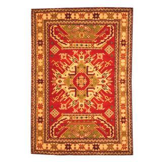 Herat Oriental Indo Hand-knotted Kazak Red/ Beige Wool Rug (3' x 5')