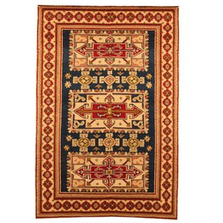 Hand-knotted Indo Kazak Navy/ Ivory Wool Area Rug (3' x 5')