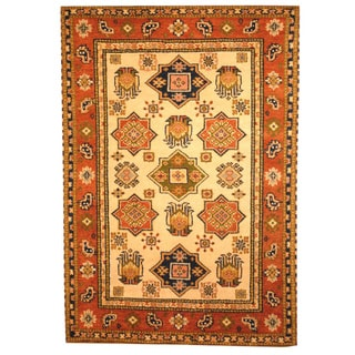 Hand-knotted Indo Kazak Ivory/ Tan Wool Area Rug (3' x 5')