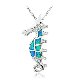 Glitzy Rocks Sterling Silver Created Blue Opal Seahorse Necklace