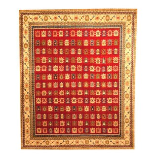 Hand-knotted Indo Kazak Red/ Beige Wool Rug (8' x 10')