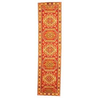 Hand-knotted Indo Kazak Red/ Beige Wool Rug (2'6 x 8')
