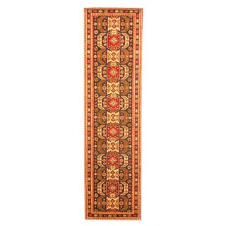 Hand-knotted Indo Kazak Navy/ Red Wool Rug (2'6 x 8')