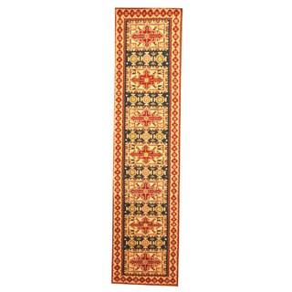 Hand-knotted Indo Kazak Navy/ Ivory Wool Rug (2'6 x 8')