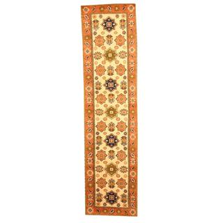 Hand-knotted Indo Kazak Ivory/ Tan Wool Rug (2'6 x 8')