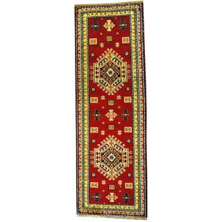 Hand-knotted Indo Kazak Red/ Ivory Wool Rug (2'6 x 8')
