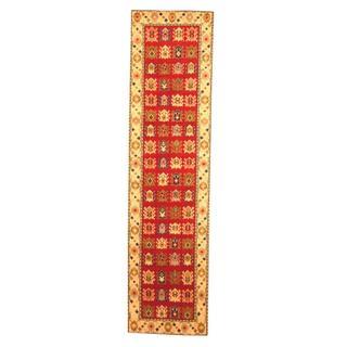 Herat Oriental Indo Hand-knotted Kazak Red/ Beige Wool Rug (2'6 x 10')