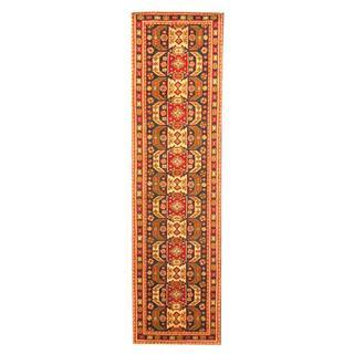 Herat Oriental Indo Hand-knotted Kazak Navy/ Red Wool Rug (2'6 x 10')