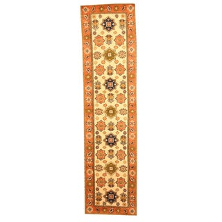 Hand-knotted Indo Kazak Ivory/ Tan Wool Rug (2'6 x 10')