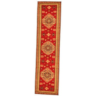 Hand-knotted Indo Kazak Red/ Ivory Wool Area Rug (2'6 x 10')