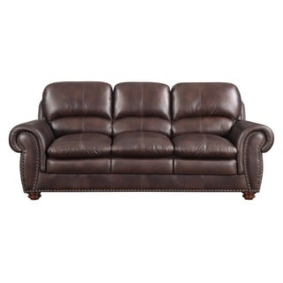 Rolled Arms Nailhead Emerald Brown Sofa