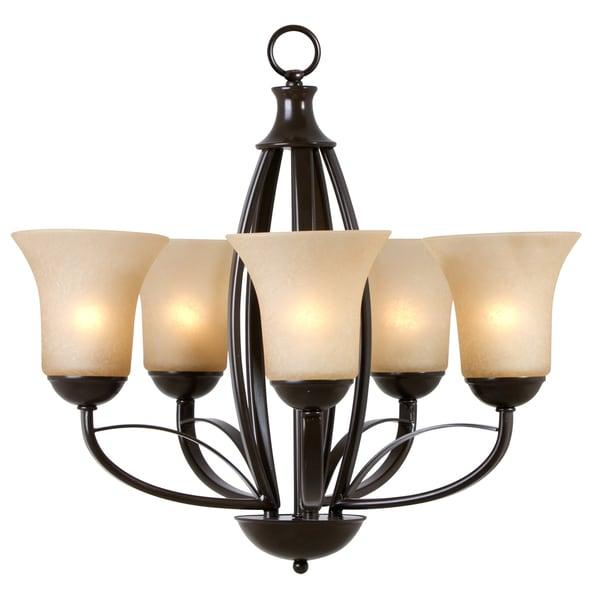 5-light Amber Scavo Glass Chandelier