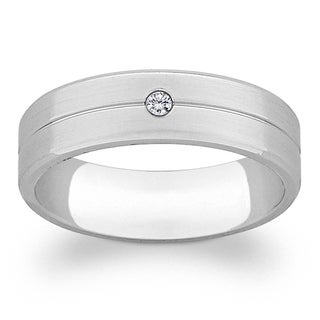 Titanium Unisex Cubic Zirconia Engraved Grooved Band