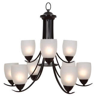 Yosemite Home D�cor 9-light White Etched Glass Chandelier