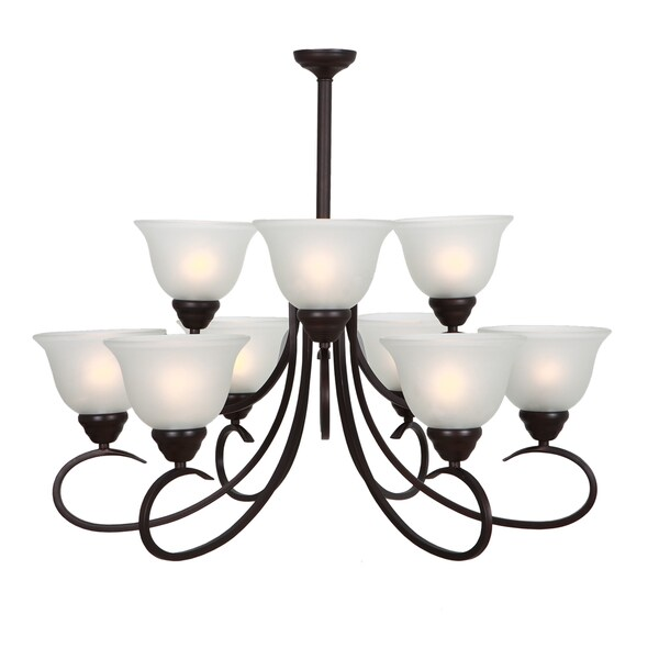 9 lights White Glass Chandelier
