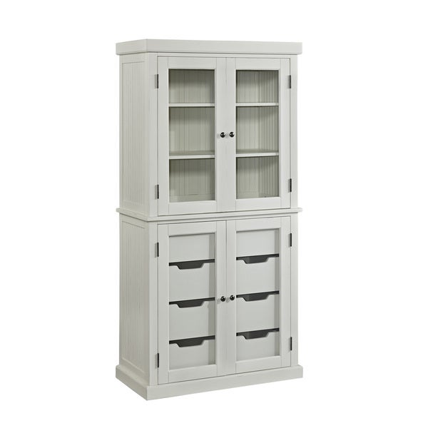 Kitchen Storage Cabinets With Glass Doors: Large Distressed China Cabinet White Kitchen Storage