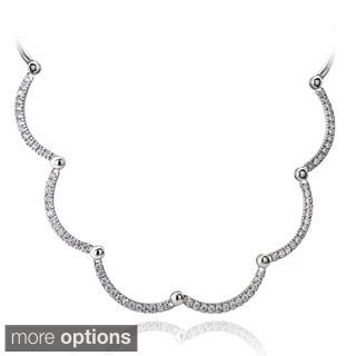 Icz Stonez Sterling Silver 3 7/8ct TGW Cubic Zirconia Wavy Necklace