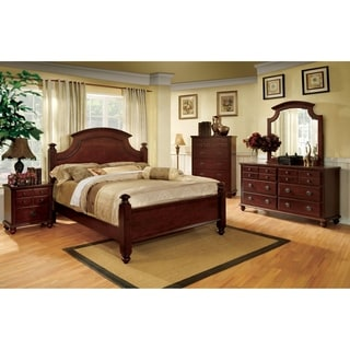 Furniture of America Alianess European Style 4-Piece Cherry Poster Bedroom Set