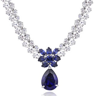 Icz Stonez Sterling Silver 69 1/2ct TGW Violet Blue and White Cubic Zirconia Teardrop Necklace