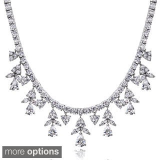 Icz Stonez Sterling Silver 44 3/5ct TGW Cubic Zirconia Dangling Teardrop Marquise Necklace