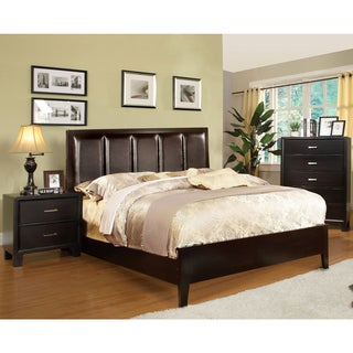 Furniture of America Contemporary 2-Piece Leatherette Bed with Nightstand Set