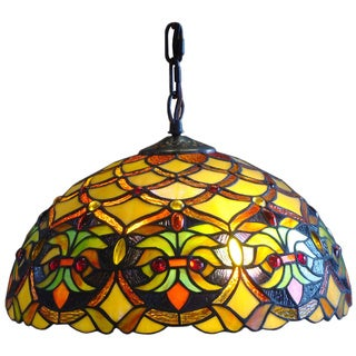 Amora Lighting Tiffany Style Wide 14-inch 2-light Hanging Lamp