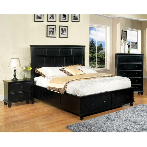 Furniture of america transitional 3 piece black cottage - Transitional style bedroom furniture ...