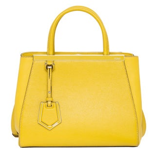 Fendi Petite '2Jours' Yellow Leather Shopper