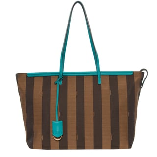 Fendi Pequin Stripes and Teal Leather Roll Tote