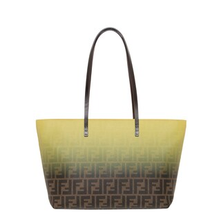 Fendi Small Two-tone Zucca and Yellow Roll Tote