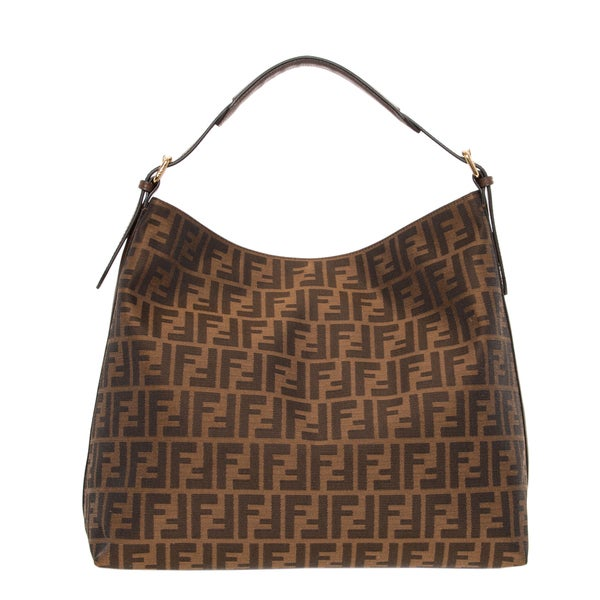 Fendi Large Zucca Pattern and Brown Hobo Bag