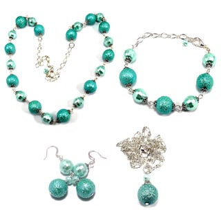 Turquoise Bumpy Crystal Pearl and Pearlized Turquoise Crystal 4-piece Wedding Jewelry Set