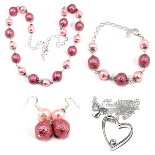 Medium Pink Bumpy Crystal Pearl and Pastel Pink Pearlized Crystal 4-piece Jewelry Set