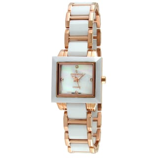 Peugeot Women's Swiss White Ceramic Mother of Pearl Dial Watch