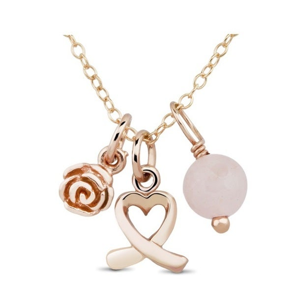 Rose Goldplated Sterling Silver Open Heart, Rose and Pink Bead Charm Necklace