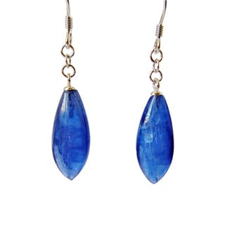 Sterling Silver Blue Kyanite Gemstone Long Dangle Earrings