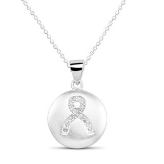 Sterling Silver Cubic Zirconia Circle Breast Cancer Ribbon Pendant Necklace