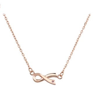 Rose Goldplated Sterling Silver Cubic Zirconia Breast Cancer Ribbon Necklace