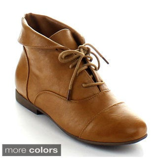 Nature Breeze Women's 'Staci-03' Folded Ankle Booties