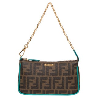 Fendi Tobacco and Teal Logo-coated Canvas Pouchette